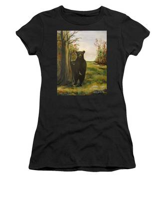 Women's T-Shirt featuring the painting Bear Necessity by Laurie Lundquist