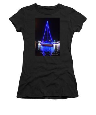 Women's T-Shirt featuring the photograph Blue Christmas  by Laurie Lundquist