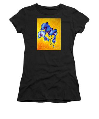 Women's T-Shirt featuring the painting Blue Orchids 1 by Nancy Cupp