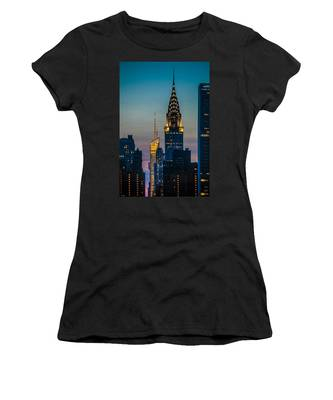 Women's T-Shirt featuring the photograph Chrysler Building At Sunset by Chris Lord