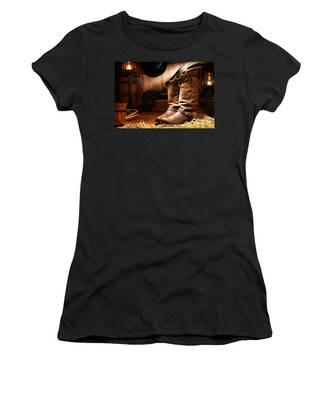 Cowboy Boots In A Ranch Barn Women's T-Shirt