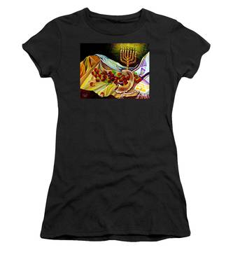 Women's T-Shirt featuring the painting Intercession by Nancy Cupp