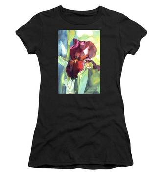 Watercolor Of A Tall Bearded Iris Called Sultan's Palace In Red And Burgundy Women's T-Shirt