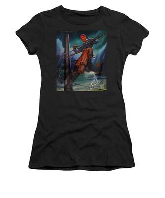 Lineman In Storm Women's T-Shirt