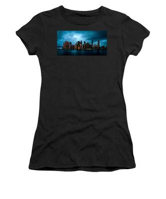 Women's T-Shirt featuring the photograph Manhattan At Dawn by Chris Lord