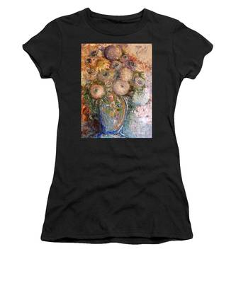 Women's T-Shirt featuring the painting Marshmallow Flowers by Laurie Lundquist