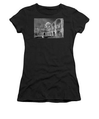 Women's T-Shirt featuring the photograph Mission San Jose Arches Bw by Jemmy Archer