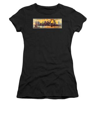 Women's T-Shirt featuring the photograph New York City Summer Panorama by Chris Lord
