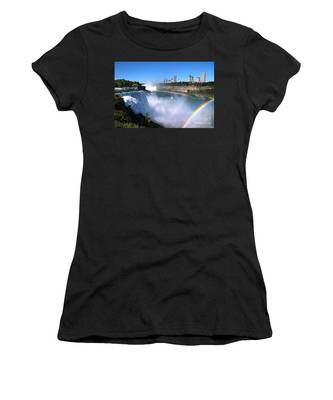 Women's T-Shirt featuring the photograph Niagara Falls Double Rainbow by Jemmy Archer