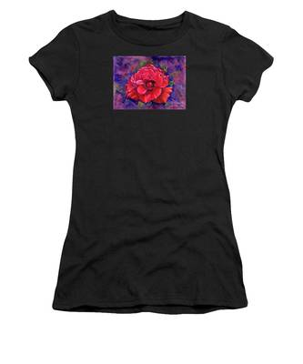 Women's T-Shirt featuring the painting Purple Passion by Nancy Cupp