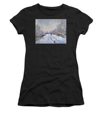 Snow Scene At Argenteuil Women's T-Shirt