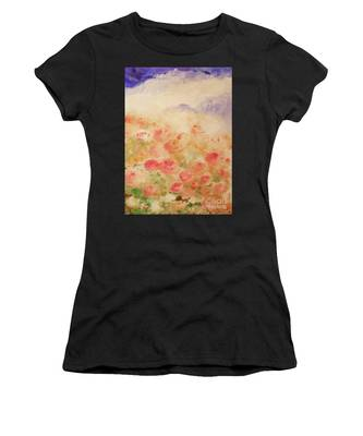 Women's T-Shirt featuring the painting The Rose Bush by Laurie Lundquist
