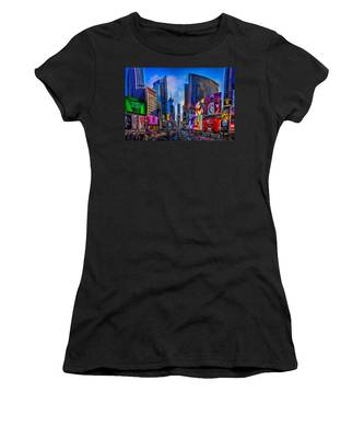 Women's T-Shirt featuring the photograph Times Square by Chris Lord