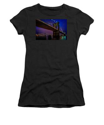 Women's T-Shirt featuring the photograph Twilight At The Brooklyn Bridge by Chris Lord