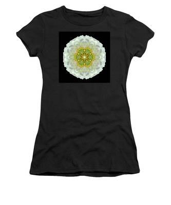 White Zinnia Elegans V Flower Mandala Women's T-Shirt