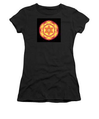 Yellow And Red Rose IIi Flower Mandala Women's T-Shirt