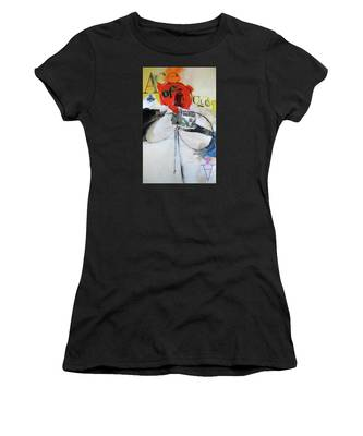 Women's T-Shirt featuring the painting Ace Of Clubs 36-52 by Cliff Spohn