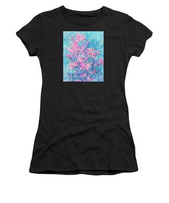 Women's T-Shirt featuring the painting Redbud Special by Nancy Cupp