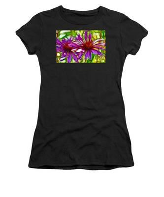 Two Purple Daisy's Fractal Women's T-Shirt
