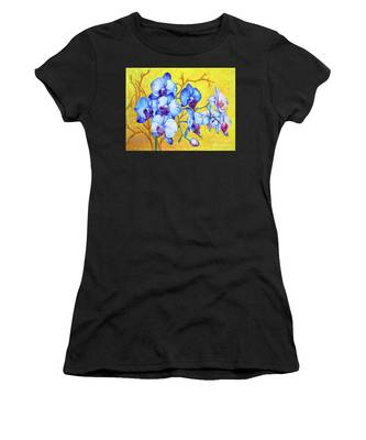 Women's T-Shirt featuring the painting Blue Orchids #2 by Nancy Cupp