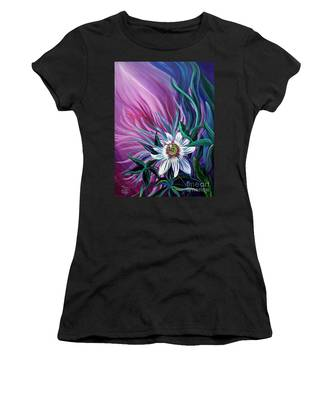 Women's T-Shirt featuring the painting Passion Flower by Nancy Cupp