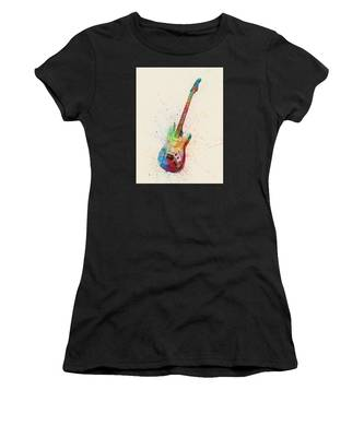 Electric Guitar Abstract Watercolor Women's T-Shirt