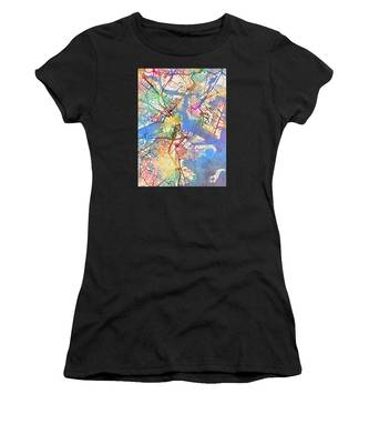 Boston Massachusetts Street Map Women's T-Shirt