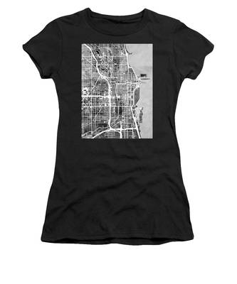 Chicago City Street Map Women's T-Shirt