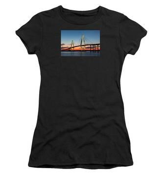 Arthur Ravenel Bridge, Charleston At Twilight Women's T-Shirt