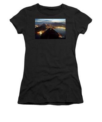 Brasil,rio De Janeiro,pao De Acucar,viewpoint,panoramic View,copacabana At Night Women's T-Shirt by Juergen Held
