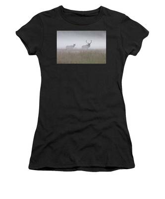 Bull And Cow Elk In Fog - September 30 2016 Women's T-Shirt