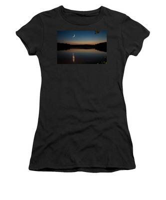 Women's T-Shirt featuring the photograph Crescent Moon Set At Lake Chesdin by Jemmy Archer