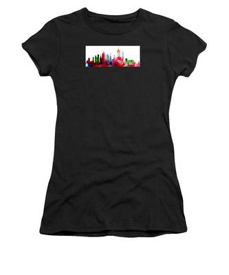 Decorative Skyline Abstract New York P1015c Women's T-Shirt by Mas Art Studio