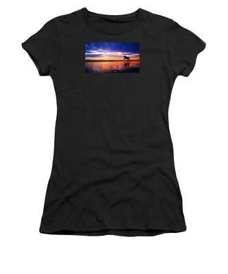 Dog Chasing Stick At Sunrise Women's T-Shirt