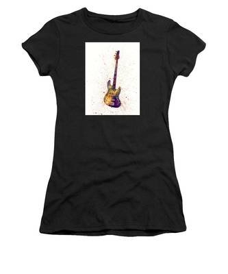Electric Bass Guitar Abstract Watercolor Women's T-Shirt