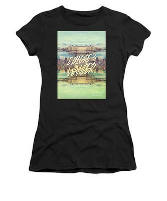 Explore And Wander Seine River Louvre Paris France Women's T-Shirt