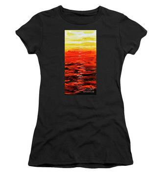 Flaming Sunset Abstract 205173 Women's T-Shirt by Mas Art Studio