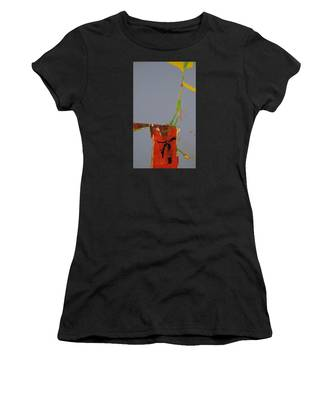 Women's T-Shirt featuring the painting Flower In Pitcher- Abstract Of Course by Cliff Spohn