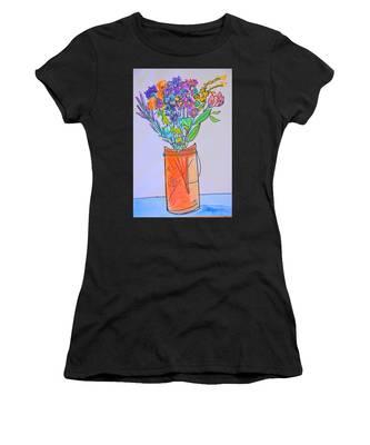 Flowers In An Orange Mason Jar Women's T-Shirt