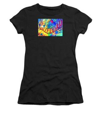 Women's T-Shirt featuring the painting Halleluyah by Nancy Cupp