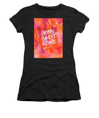 Home Sweet Home Handpainted Abstract Orange Pink Watercolor Women's T-Shirt