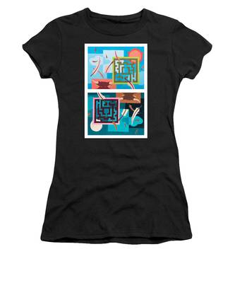 Women's T-Shirt featuring the painting Labyrinth Night And Day by Break The Silhouette