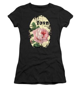 Women's T-Shirt featuring the digital art Love Grunge Rose by Robert G Kernodle