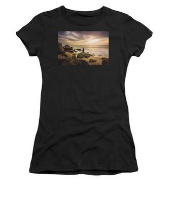 Man Watching Sunset In Malibu Women's T-Shirt