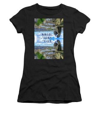 Monsters Were His Friends Notre-dame Paris Gargoyle Women's T-Shirt