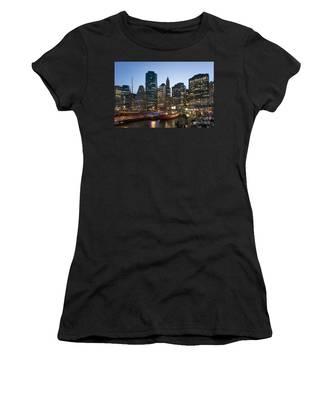Women's T-Shirt featuring the photograph New York Manhattan Seaport by Juergen Held