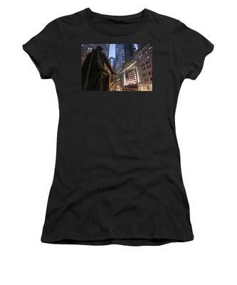 Women's T-Shirt featuring the photograph New York Wall Street by Juergen Held