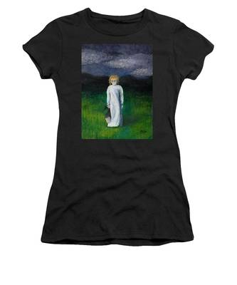Women's T-Shirt featuring the painting Night Walk by Break The Silhouette