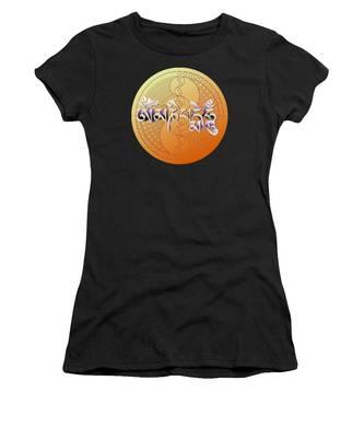 Women's T-Shirt featuring the digital art Om Mani Padme Hum by Robert G Kernodle