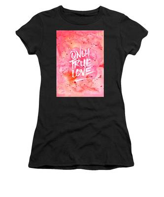 Only True Love Handpainted Abstract Watercolor Red Pink Orange Women's T-Shirt